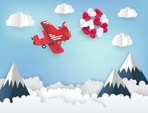 Fond de papier moderne d'origami d'art blanc rouge de l'avion 3d illustration de vecteur