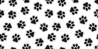 Fond de papier peint d'isolement par Cat Paw Bear de vecteur de Paw Seamless Pattern de chien illustration stock