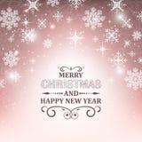 Fond de papier peint de Noël Illustration bleue rougeoyante avec la neige, les flocons de neige, les étoiles et le scintillement Photo libre de droits