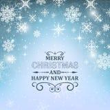 Fond de papier peint de Noël Illustration bleue rougeoyante avec la neige, les flocons de neige, les étoiles et le scintillement illustration de vecteur
