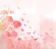 Fond de papillons d'aquarelle images libres de droits
