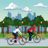 Fond de Park City de vélo de tour de garçons Illustration de Vecteur