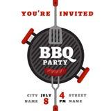 Fond de partie de BBQ avec le gril Affiche de barbecue Style plat, VE illustration libre de droits