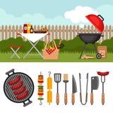 Fond de partie de BBQ avec le gril Affiche de barbecue Trousse d'outils de BBQ illustration libre de droits