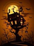 Fond de partie de Halloween avec la silhouette de château Photo stock