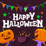 Fond de partie de Halloween Homme avec une illustration plate de vecteur de tête de potiron Image stock