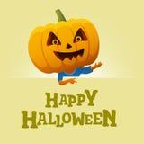 Fond de partie de Halloween Homme avec une tête de potiron Photo libre de droits