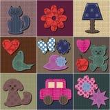 Fond de patchwork avec des objets d'album Photo stock