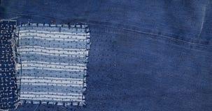 Fond de patchwork de jeans, patchwork de denim Photos stock