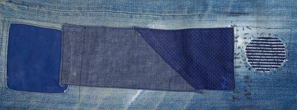 Fond de patchwork de jeans, patchwork de denim Images stock