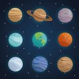Fond de paysage d'espace chromatique avec des planètes de système solaire illustration stock