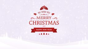 Fond de paysage d'hiver avec des arbres Le vintage typographique de Noël et de nouvelle année badge sur le fond de lumière molle illustration libre de droits