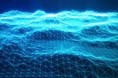 fond de paysage de l'illustration 3D Grille de paysage de cyberespace technologie 3d Paysage bleu abstrait sur le noir Image libre de droits