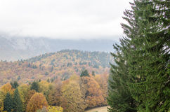 Fond de paysage de montagne d'automne Photos stock