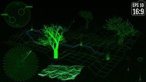 Fond de paysage Grille de paysage de cyberespace technologie 3d Photographie stock