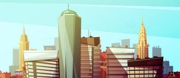 Fond de paysage urbain de Manhattan avec des gratte-ciel illustration stock