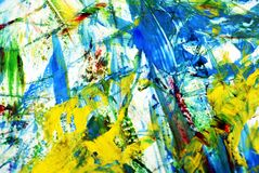 Fond de peinture vif bleu jaune blanc, fond de peinture abstrait d'aquarelle photos libres de droits