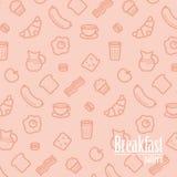 Fond de petit déjeuner Le modèle sans couture avec la ligne icônes de la nourriture aiment la saucisse, le pain, le croissant, le illustration libre de droits