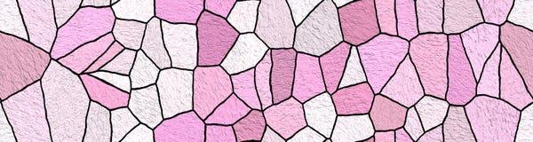 Fond de pierres décoratives de mosaïque Intérieur de salle de bains et de cuisine Modèle ornemental abstrait Image panoramique illustration stock