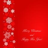 Fond de place rouge de Noël avec des flocons de neige à la frontière gauche Images stock