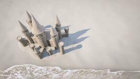 Fond de plage de château de sable rendu 3d Photos stock