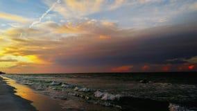 Fond de plage de lever de soleil Photographie stock