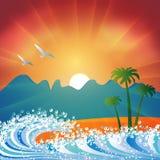 Fond de plage de vacances d'été Images stock