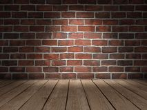 Plancher en bois de mur de briques Image stock