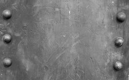 Fond de plaque métallique avec six taches Photos libres de droits