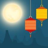 Fond de pleine lune et de festival de lanternes illustration de vecteur
