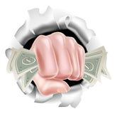 Fond de poinçon de poing d'argent liquide d'argent illustration libre de droits