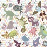 Fond de point de polka, modèle sans couture Monstres mignons drôles de dinosaure Vecteur illustration libre de droits