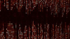 Fond de pointe rouge Effet binaire numérique abstrait de matrice banque de vidéos