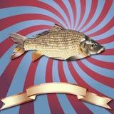 Fond de poissons et ruban réalistes d'en cuivre Photo stock