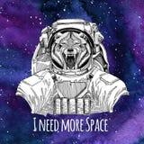 Fond de port de l'espace de galaxie de costume d'espace d'astronaute d'animal animal de Wolf Dog Wild avec les étoiles et la gala Photo libre de droits