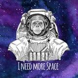 Fond de port de l'espace de galaxie de costume d'espace de Chimpanzee Monkey d'astronaute animal avec les étoiles et la galaxie d Image stock