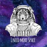 Fond de port de l'espace de galaxie de costume d'espace de Wolf Dog d'astronaute animal avec les étoiles et le fond de galaxie d' Photographie stock libre de droits