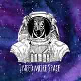 Fond de port de l'espace de galaxie de costume d'espace de Zebra Horse d'astronaute animal avec les étoiles et la galaxie d'aquar Photos stock