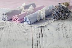 Fond de portion avec des serviettes Photographie stock