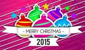 Fond de pourpre d'Art Paper 2015 de Joyeux Noël de babioles illustration libre de droits