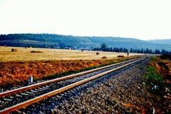 Fond de rail de train en journée Images libres de droits