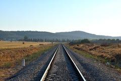 Fond de rail de train en journée Photographie stock libre de droits