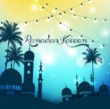 Fond de Ramadan Kareem avec la mosquée et le palmier Photo libre de droits