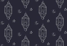 Fond de Ramadan Lantern Seamless Pattern Dark Photographie stock