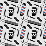 Fond de raseur-coiffeur, modèle sans couture avec des ciseaux de coiffure, brosse de rasage, rasoir, peigne, visage de hippie et  illustration libre de droits