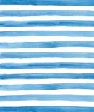 Fond de rayures bleues d'aquarelle Images stock