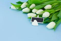 Fond de ressort avec le bouquet des tulipes et la pierre sous forme de coeur, carte pour le jour de Saint-Valentin ou de mère ou  images libres de droits