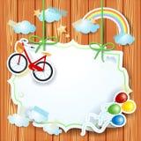 Fond de ressort avec le label et le vélo Photo libre de droits