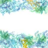 Fond de ressort, guirlande avec les feuilles vertes en bon état, aquarelle Drapeau pour le texte Vecteur illustration de vecteur
