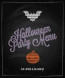 Fond de restaurant de tableau de menu de Halloween Image stock